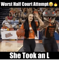This is the Worst half court shot attempt i've ever seen...😂😭 - Follow @slams for more!: Worst Half Court Attempt  65A  She Took an L This is the Worst half court shot attempt i've ever seen...😂😭 - Follow @slams for more!