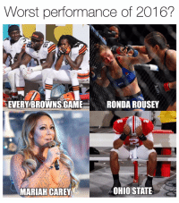 Mariah Carey, Nfl, and Browns: Worst performance of 2016?  EVERY BROWNS GAME  RONDAROUSEY  OHIO STATE  MARIAH CAREY Mark Sanchez is lucky he played in 2017 because he would've been on here @funniestnbamemez