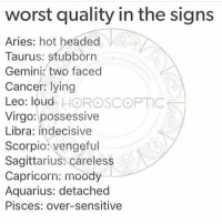 possessive: worst quality in the signs  Aries: hot headed  Taurus: stubborn  Gemini two faced  Cancer: lying  Leo: loud HOROSCOPTIC  Virgo: possessive  Libra: indecisive  Scorpio vengeful  Sagittarius: careless  Capricorn: moody  Aquarius: detached  Pisces: over-sensitive