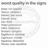 Aquarius, Aries, and Cancer: worst quality in the signs  Aries: hot headed  Taurus: stubborn  Gemini. two faced  Cancer: lying  Leo: loud HOROSCOPTIC  Virgo: possessive  Libra: indecisive  Scorpio vengeful  Sagittarius: careless  Capricorn: moody  Aquarius: detached  Pisces: over-sensitive