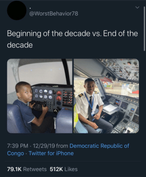 My man with the best 10 year challenge I seen so far by NyaGoesTheCat MORE MEMES: @WorstBehavior78  Beginning of the decade vs. End of the  decade  7:39 PM · 12/29/19 from Democratic Republic of  Congo · Twitter for iPhone  79.1K Retweets 512K Likes My man with the best 10 year challenge I seen so far by NyaGoesTheCat MORE MEMES
