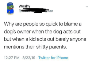 Parents might just suck: Woshy  Toe  Why are people so quick to blame a  dog's owner when the dog acts out  but when a kid acts out barely anyone  mentions their shitty parents.  12:27 PM 8/22/19 Twitter for iPhone Parents might just suck