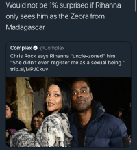 """<p>Marty taking Ls (via /r/BlackPeopleTwitter)</p>: Would not be 1% surprised if Rihanna  only sees him as the Zebra from  Madagascar  Complex @Complex  Chris Rock says Rihanna """"uncle-zoned"""" him:  """"She didn't even register me as a sexual being.""""  trib.al/MPJCkuv <p>Marty taking Ls (via /r/BlackPeopleTwitter)</p>"""
