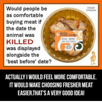 Comfortable, Dank, and Chicken: Would people be  EVOLVE!  Campaigns  as comfortable  buying meat if  the date the  BRITISH  animal was  COOKED CHICKEN  KILL DATE  KILLED  14/11/2011  BEST  was displayed  BEFORE  DEATH  alongside the  'best before' date?  ACTUALLYIWOULDFEEL MORE COMFORTABLE.  IT WOULD MAKE CHOOSING FRESHERMEAT  EASIERTHATSAVERY GOOD IDEA! When Vegan ideas backfire