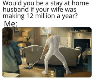 Dank, Memes, and Target: Would you be a stay at home  husband if your wife was  making 12 million a year?  Me: But of course by Mysticwizardboy MORE MEMES