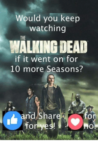 Memes, The Walking Dead, and Walking Dead: Would you keep  watching  THE  WALKING DEAD  if it went on for  10 more Seasons?  CJEVANGO  COM  nd Shar  On Hell YEAH !! Of course !! ~kathy