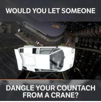 Memes, Lamborghini, and London: WOULD YOU LET SOMEONE  RM  DANGLE YOUR COUNTACH  FROM A CRANE? It's getting pretty hard to find a parking space in London nowadays 😂 - - lamborghini countach v12 carthrottle carsofinstagram carswithoutlimits instacars supercar carspotting supercarspotting wolfofwallstreet london blacklist