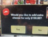 Add, Yes, and Cheese: Would you like to add extra  cheese for only $198.00?  Yes  No