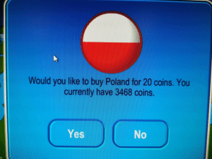 Hitler, Poland, and Yes: Would you like to buy Poland for 20 coins. You  currently have 3468 coins.  Yes Hitler and Stalin make a deal, C. 1939 (colourised)
