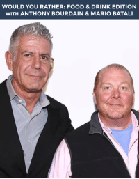 """<h2><b>Wanna play """"WOULD YOU RATHER"""" with Anthony Bourdain &amp; Mario Batali?</b></h2><p>Anthony &amp; Mario are ready to answer your best <b>food &amp; drink themed</b> """"Would You Rather?"""" scenarios!</p><p>Send us your best/funniest/weirdest questions by replying below or by submitting to our <b><a href=""""http://fallontonight.tumblr.com/ask"""" target=""""_blank"""">Tumblr Ask Box</a></b>!</p><h2><b>What's your best food &amp; drink themed """"Would You Rather"""" question?</b></h2>: WOULD YOU RATHER: FOOD & DRINK EDITION  WITH ANTHONY BOURDAIN & MARIO BATAL <h2><b>Wanna play """"WOULD YOU RATHER"""" with Anthony Bourdain &amp; Mario Batali?</b></h2><p>Anthony &amp; Mario are ready to answer your best <b>food &amp; drink themed</b> """"Would You Rather?"""" scenarios!</p><p>Send us your best/funniest/weirdest questions by replying below or by submitting to our <b><a href=""""http://fallontonight.tumblr.com/ask"""" target=""""_blank"""">Tumblr Ask Box</a></b>!</p><h2><b>What's your best food &amp; drink themed """"Would You Rather"""" question?</b></h2>"""