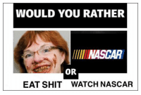 WOULD YOU RATHER  llll NASCAR  OR  EAT SHIT WATCH NASCAR
