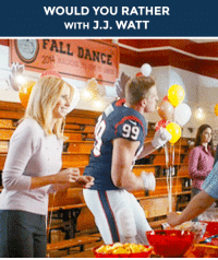 """<h2><b>Wanna play """"WOULD YOU RATHER"""" with J.J. Watt?</b></h2><p>J.J. Watt is ready to answer your best """"Would You Rather?"""" scenarios!</p><p>Send us your best/funniest/weirdest questions by replying below or by submitting to our <b><a href=""""http://fallontonight.tumblr.com/ask"""" target=""""_blank"""">Tumblr Ask Box!</a></b><br/></p><p>(GIF <a href=""""http://38.media.tumblr.com/808cdeed6519612ecc4827ae8e88e993/tumblr_nbz78bnqy51rlogeko1_250.gif"""" target=""""_blank""""><i>via</i></a>)</p><h2><b>What's your best 'Would You Rather' question?</b></h2>: WOULD YOU RATHER  WITH J.J. WATT   FALL DANCE <h2><b>Wanna play """"WOULD YOU RATHER"""" with J.J. Watt?</b></h2><p>J.J. Watt is ready to answer your best """"Would You Rather?"""" scenarios!</p><p>Send us your best/funniest/weirdest questions by replying below or by submitting to our <b><a href=""""http://fallontonight.tumblr.com/ask"""" target=""""_blank"""">Tumblr Ask Box!</a></b><br/></p><p>(GIF <a href=""""http://38.media.tumblr.com/808cdeed6519612ecc4827ae8e88e993/tumblr_nbz78bnqy51rlogeko1_250.gif"""" target=""""_blank""""><i>via</i></a>)</p><h2><b>What's your best 'Would You Rather' question?</b></h2>"""