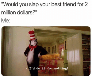 """million dollars: """"Would you slap your best friend for 2  million dollars?""""  Me:  I'd do it for nothing!"""