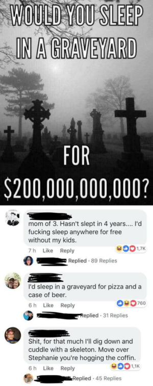 Savages #2: WOULD YOU SLEEP  IN A GRAVEYARD  FOR  $200,000,000,000?  mom of 3. Hasn't slept in 4 years... I'd  fucking sleep anywhere for free  without my kids.  7 h Like Reply  Replied 89 Replies  I'd sleep in a graveyard for pizza and a  case of beer  6 h Like Reply  0760  eplied 31 Replies  Shit, for that much I'll dig down and  cuddle with a skeleton. Move over  Stephanie you're hogging the coffin.  6 h Like Reply  Replied 45 Replies Savages #2