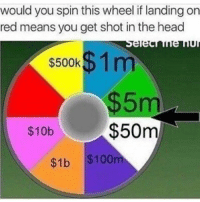 Head, Memes, and 🤖: would you spin this wheel if landing on  red means you get shot in the head  $500k  $1 m  m  $10b  $50m  $1b $100m Either way I would win so yea