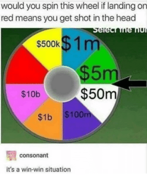Win-win, babay by assblasteroid MORE MEMES: would you spin this wheel if landing on  red means you get shot in the head  $500K m  $5m  $10b$50m  $1b $100  consonant  it's a win-win situation Win-win, babay by assblasteroid MORE MEMES