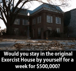 Memes, House, and 🤖: Would you stay in the original  Exorcist House by yourself fora  week for $500,000?