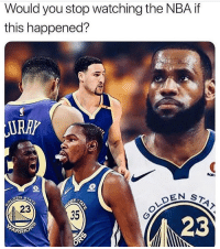 Would y'all stop watching the NBA if LeBron James teamed up with the Golden State Warriors? 🏀🤔 https://t.co/9SBH0eSG6x: Would you stop watching the NBA if  this happened?  URRP  EN ST  23  35  23 Would y'all stop watching the NBA if LeBron James teamed up with the Golden State Warriors? 🏀🤔 https://t.co/9SBH0eSG6x