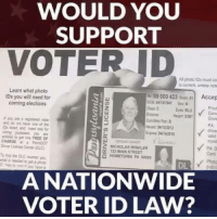 Nationwide, Free, and Com: WOULD YOU  SUPPORT  VOTER ID  A phdto IDs must co  s corrent, unless nos  Learn what photo  Ds you will need for  coming elections  e99 000 423 Dos  Accep  Lu  2  0  Eyes BLU  Com  Gow  PA  drve  vaid  xp 0405023  ed to e FREE OF  CHARGE Pn007  2 NICHDLAS WOKLER  PA D  Card  125 MAİN STREET  HOMETOWN PA 00000  Phote  DL  A NATIONWIDE  VOTER ID LAW? Absolutely!