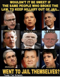 Jail, Memes, and Trump: WOULDN'T IT BE SWEET IF  THE SAME PEOPLE WHO BROKE THE  LAW, TO KEEP HILLARY OF JAİL  OUT  STEELE  BRENNAN  MUELLER  LYNCH  WENT TO JAIL THEMSELVES?  TRump Fan Network