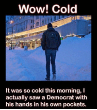 Memes, Saw, and Wow: Wow! Cold  It was so cold this morning, I  actually saw a Democrat with  his hands in his own pockets. It's cold today!