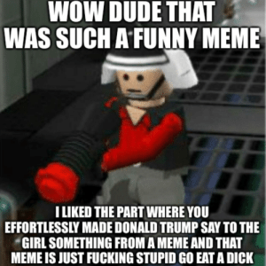 Guys look it's the LEGO Star Wars guy talking about bad meme XD: WOW DUDE THAT  WAS SUCH A FUNNY MEME  LIKED THE PART WHERE YOU  EFFORTLESSLY MADE DONALD TRUMP SAY TO THE  GIRL SOMETHING FROM A MEME AND THAT  MEME IS JUST FUCKING STUPID GO EAT A DICK Guys look it's the LEGO Star Wars guy talking about bad meme XD