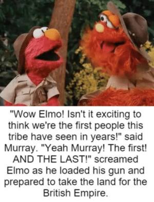 "Club, Dank, and Elmo: ""Wow Elmo! Isn't it exciting to  think we're the first people this  tribe have seen in years!"" said  Murray. ""Yeah Murray! The first!  AND THE LAST!"" screamed  Elmo as he loaded his gun and  prepared to take the land for the  British Empire. laughoutloud-club:  Dank Elmo is the best Elmo"