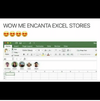 meencanta: WOW MEENCANTA EXCEL STORIES  a  Home  Insert Page Layout Formulas Data Review View  X cut Calibri (Body)  12 A- A  to wrap Text  Copy  Paste Format  Merge & Center  Your Story Sharon  Ashot
