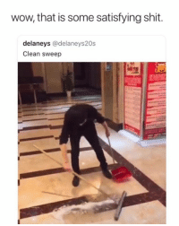 Dank, Memes, and Shit: wow, that is some satisfying shit.  delaneys @delaneys20s  Clean sweep This guy has to be a water bender 😂👏  (contact us at partner@memes.com for credit/removal)
