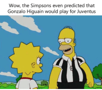 Memes, The Simpsons, and Wow: Wow, the Simpsons even predicted that  Gonzalo Higuain would play for Juventus 😂😂😂