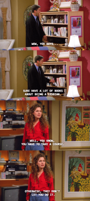 thecouchwitch:   majesdanes:  susan is EVERYTHING  When I was a child I thought Susan was needlessly mean to Ross. Then as I got older I realized Ross was an asshat and Susan was the only one on the show that could see it. : WOW, YOU GUYS...   SURE HAVE A LOT OF BOOKS  ABOUT BEING A LESBIAN.   WELL, YOU KNOW,  YOU HAVE TO TAKE A COURSE   OTHERWISE, THEY DON'T  LET YOU DO IT. thecouchwitch:   majesdanes:  susan is EVERYTHING  When I was a child I thought Susan was needlessly mean to Ross. Then as I got older I realized Ross was an asshat and Susan was the only one on the show that could see it.