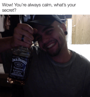 Wow!: Wow! You're always calm, what's your  secret?  JACK DANIELS  No.7  Jennessee  WHISKEY  70cl 40% Vol.  ANEL DOTLLENY Wow!