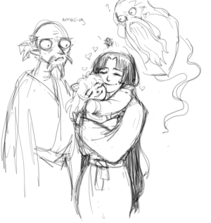 wreathoflaurels:an au in which the Trio of Googly Eyed Old Men take in Izayoi and Inuyasha and it's basically just this energetic baby hanyou, his beautiful young human mother, and these flaky, weird uncles: wreathoflaurels:an au in which the Trio of Googly Eyed Old Men take in Izayoi and Inuyasha and it's basically just this energetic baby hanyou, his beautiful young human mother, and these flaky, weird uncles
