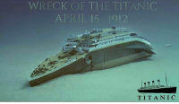 WRECK OF THE TITANIC  APRIL 15, 012  T I T A N I C What the ship would have looked like the night it sunk.