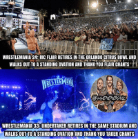 Crazy, Memes, and Thank You: WRESTLEMANIA 243RIC FLAIR RETIRES IN THE ORLANDO CITRUS BOWL AND  WALKS OUT TO A STANDING OVATION AND THANK YOU FLAIR CHANTS  H  RESTLEMANI  WRESTLEMANIA 333UNDERTAKER RETIRES IN THE SAME STADIUM AND  WALKS OUTTOASTANDINGOVATION AND THANK YOU TAKER CHANTS It's crazy how both these legends retired at the same venue and both got the same recognition from the fans that they damn well deserve ♥️ Still boggles my mind that I witnessed one of childhood heroes, The Undertaker, retire in front of me live, Thank You Taker 😭😢♥️♥️ undertaker ricflair kevinowens chrisjericho romanreigns braunstrowman sethrollins ajstyles deanambrose randyorton braywyatt tripleh shanemcmahon charlotte nikkibella johncena sashabanks brocklesnar goldberg bayley themiz finnbalor kurtangle wrestlemania wwememes wwememe wwefunny wrestlingmemes wweraw wwesmackdown