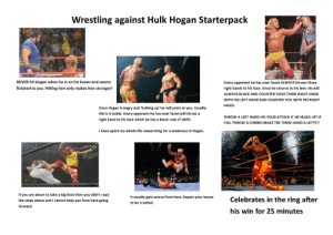 Fighting against Hulk Hogan Starterpack.: Wrestling against Hulk Hogan Starterpack  NEVER hit Hogan when he is on his knees and seems  Every opponent he has ever faced ALWAYS throws three  TWOOD  finished to you. Hitting him only makes him stronger!  right hands to his face. Once he returns to his feet. He will  ALWAYS BLOCK AND COUNTER YOUR THIRD RIGHT HAND  WITH HIS LEFT HAND AND COUNTER YOU WITH HIS RIGHT  HAND.  Once Hogan is angry and 'hulking up' he will point at you. Usually  this is trouble. Every opponent he has ever faced will throw a  THROW A LEFT HAND ON YOUR ATTACK IF HE HULKS UP! IF  right hand to his face which he has a block rate of 100%  YOU THROWA COMBO MAKE THE THIRD HAND A LEFT!!!!  I have spent my whole life researching for a weakness in Hogan.  WRESTLE ANT  If you are about to take a big boot then you didn't read  It usually gets worse from here. Expect your larynx  Celebrates in the ring after  the steps above and I cannot help you from here going  to be crushed  forward.  his win for 25 minutes Fighting against Hulk Hogan Starterpack.