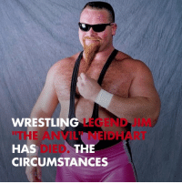 "Memes, Wrestling, and World Wrestling Entertainment: WRESTLING LEGEND  THE ANVIL"" NEIDHART  HAS  CIRCUMSTANCES  JIM  DIED  THE Wrestling legend Jim 'The Anvil' Neidhart has died. RIP tmz tmzsports wwe"