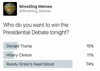 Bloods, Donald Trump, and Head: Wrestling Memes  @Wrestling Memes  Who do you want to win the  Presidential Debate tonight?  Donald Trump  Hillary Clinton  Randy Orton's head blood  15%  11%  74% There was one clear winner