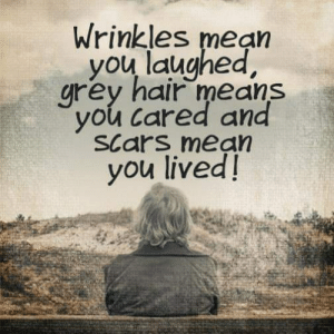 Memes, Grey, and Hair: Wrinkles mean  you laughed,  grey hair means  you Cared and  SCars mean  you lived