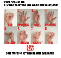 boths: WRIST EXERCISE. JPG  ALL CREDIT GOES TO DR. LEVI AND HIS AMAZING VIDEOIS]  2.  3  FIST OPEN HAND PALMOPEN HAND  7.  5.  6.  8.  TABLE TOP THE CLAW HALF-FIST FIST  F.O.P.O  T.C.H.F  DO IT TWICE FOR BOTH HANDS AFTER EVERY GAME