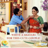 #Jethaalal is feeling 'romancik' with #Daya Tapu Ke Papa Gada!!  #CaptionThis image with a hindi shayari and the best one will win a surprise gift from #TMKOC.: WRITE A SHAYARI  FOR THIS CUTE COUPLE!  Taarak Melh  Neela Tele Films #Jethaalal is feeling 'romancik' with #Daya Tapu Ke Papa Gada!!  #CaptionThis image with a hindi shayari and the best one will win a surprise gift from #TMKOC.