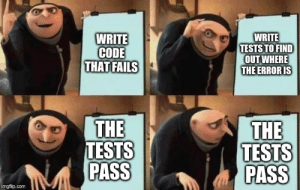 How my day is going…: WRITE  CODE  THAT FAILS  WRITE  TESTS TO FIND  OUT WHERE  THE ERROR IS  THE  TESTS  PASS  THE  TESTS  PASS  imgflip.com How my day is going…