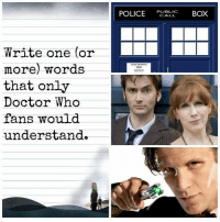 who: Write one (or  more) words  that only  Doctor Who  fans would  understand  POLICE  PUBLIC  BOX  CALL