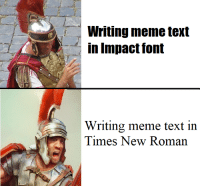 Writing meme text  in Impact font  Writing meme text in  Times New Roman Furthermore, Impact must be destroyed