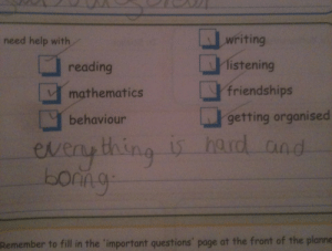 Fill In: writing  need help with  reading  [」-listening  mathematics- friendships  getting organised  behaviour  eveny ting is hard and  borno  the  GA  Remember to fill in the 'important questions' page at the front of the planne
