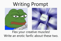https://t.co/Dg0fXcqkFp: Writing Prompt  Flex your creative muscles!  Write an erotic fanfic about these two. https://t.co/Dg0fXcqkFp