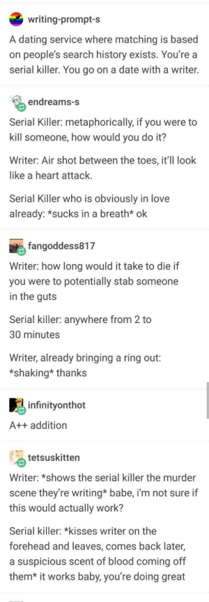 Dating, Love, and Work: writing-prompt-s  A dating service where matching is based  on people's search history exists. You're a  serial killer. You go on a date with a writer.  endreams-S  Serial Killer: metaphorically, if you were to  kill someone, how would you do it?  Writer: Air shot between the toes, it'Il look  like a heart attack  Serial Killer who is obviously in love  already: *sucks in a breath* ok  fangoddess817  Writer: how long would it take to die if  you were to potentially stab someone  in the quts  Serial killer: anywhere from 2 to  30 minutes  Writer, already bringing a ring out:  *shaking* thanks  infinityonthot  A++ addition  tetsuskitten  Writer: *shows the serial killer the murder  scene they're writing* babe, i'm not sure if  this would actually work?  Serial killer: *kisses writer on the  forehead and leaves, comes back later,  a suspicious scent of blood coming off  them* it works baby, you're doing great Perfect match