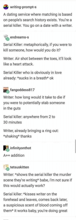 Dating, Love, and Tumblr: writing-prompt-s  A dating service where matching is based  on people's search history exists. You're a  serial killer. You go on a date with a writer.  endreams-s  Serial Killer: metaphorically, if you  were to  kill someone, how would you do it?  Writer: Air shot between the toes, it'll look  like a heart attack  Serial Killer who is obviously in love  already:*sucks in a breath* ok  fangoddess817  Writer: how long would it take to die if  you were to potentially stab someone  in the guts  Serial killer: anywhere from 2 to  30 minutes  Writer, already bringing a ring out:  *shaking* thanks  infinityonthot  A++ addition  tetsuskitten  Writer: *shows the serial killer the murder  they're writing* babe, i'm not sure if  this would actually work?  scene  Serial killer: *kiisses writer on the  forehead and leaves, comes back later,  a suspicious scent of blood coming off  them* it works baby, you're doing great Write a book