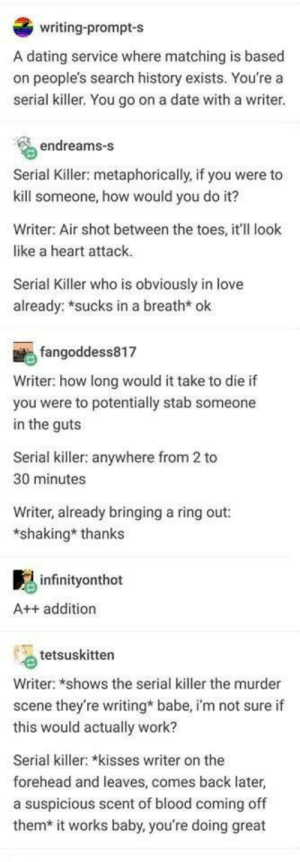 Wholesome?: writing-prompt-s  A dating service where matching is based  on people's search history exists. You're a  serial killer. You go on a date with a writer.  endreams-s  Serial Killer: metaphorically, if you were to  kill someone, how would you do it?  Writer: Air shot between the toes, it'll look  like a heart attack.  Serial Killer who is obviously in love  already: *sucks in a breath* ok  fangoddess817  Writer: how long would it take to die if  you were to potentially stab someone  in the guts  Serial killer: anywhere from 2 to  30 minutes  Writer, already bringing a ring out:  *shaking* thanks  infinityonthot  A++ addition  tetsuskitten  Writer: *shows the serial killer the murder  scene they're writing* babe, i'm not sure if  this would actually work?  Serial killer: *kisses writer on the  forehead and leaves, comes back later,  a suspicious scent of blood coming off  them* it works baby, you're doing great Wholesome?