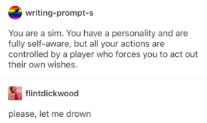 Never, How, and Player: writing-prompt-s  You are a sim. You have a personality and are  fully self-aware, but all your actions are  controlled by a player who forces you to act out  their own wishes.  flintdickwood  please, let me drown how come writing-prompt-s never runs out of ideas